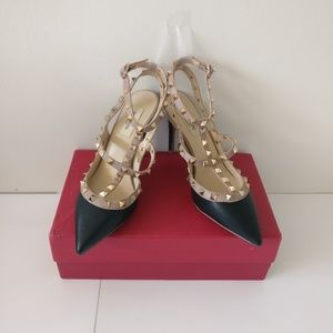 Shoes - Black Rockstud Ankle Strap Pump Heels 100mm (Sz 7)